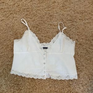 Brandy Melville white lace button up tank top